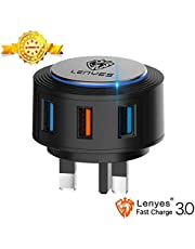 Lenyes Fast Charger Plug, 28W/5A USB Wall Charger Mains Plug 3.0/3 Port USB Plugs UK Fast Charging Adapter Suitable for Samsung Galaxy S9 S9+ S8 S8+ S7,Huawei Mate10 P10/P20/Phone XS XR/LG/HTC,Black