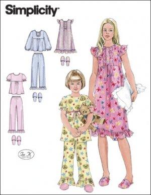 f83f8417d1a6c6 Simplicity Schnittmuster 7386 HH Mädchen Nachthemd,Pyjama & Pantoffel Gr. 3  - 6