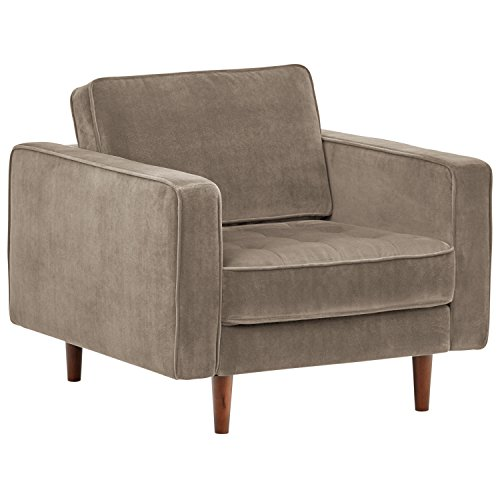"Rivet Aiden Tufted Mid-Century Modern Velvet Accent Chair, 35.4""W, Otter Grey"