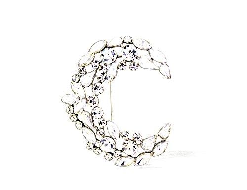 Bridal Hair Barrette Rhinestone Crystal Wedding Art Deco Flower Vine Hair Barrette Clip (Crystal Brooch)