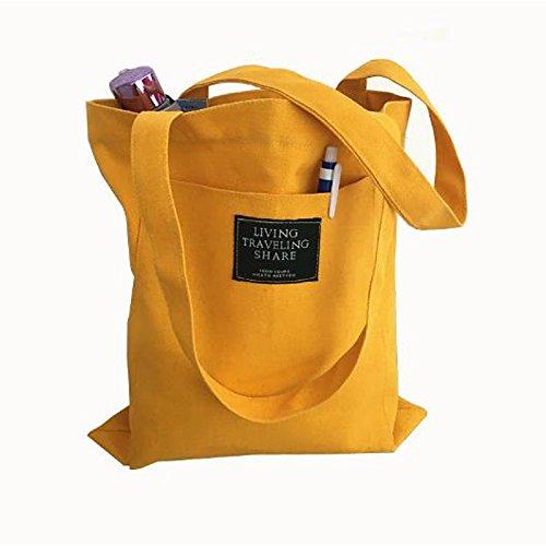 Borsa Gmyan Black Blushed Donna Pink tracolla a Pocket Handbags Yellow Canvas srQdth