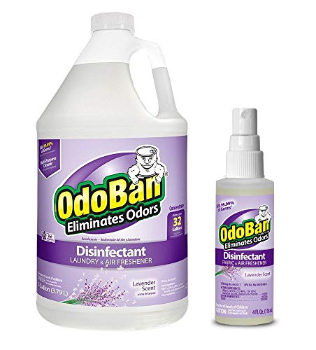OdoBan Odor Eliminator and Disinfectant, 1 Gallon Concentrate and 4oz Travel Spray, Lavender Scent