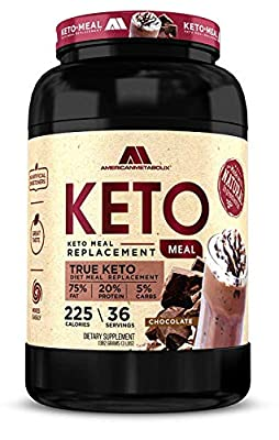 Keto Meal Replacement with BHB, 40 Servings, 210 Calories, 75%F,20%p, 5%c (Chocolate Malt, 40 Servings)