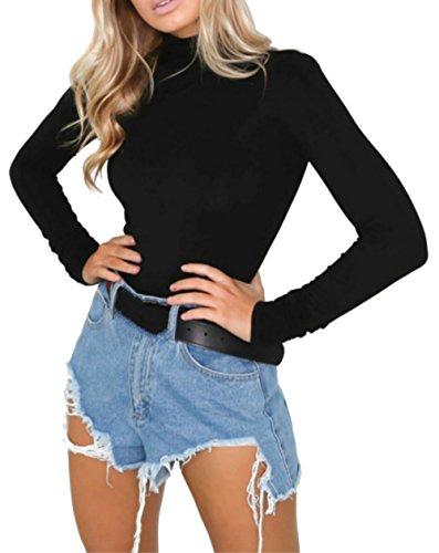 PALINDA Women's Turtleneck Long Sleeve Bodysuit Sexy Bodycon Stretchy -