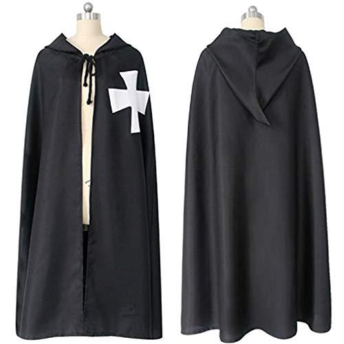 Men's Retro Medieval Knights Templar Hospitaller Hooded Cloak Costume Crusader Cape Tunic w/Cross - Medium