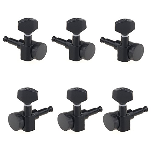 Musiclily 3+3 Guitar Locking Tuner Tuning Keys Pegs Machine Head Set for Fender Stratocaster Telecaster Guitar Parts,Black