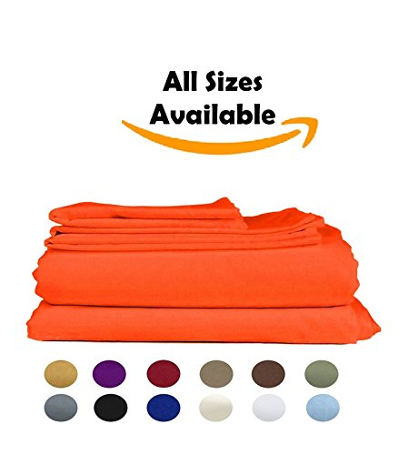 Roze Linen Hotel Collection 600 Thread Count Egyptian Cotton RV Short Queen (60 x 75) 4 Piece Sheet Set in Orange Color { Deep Pocket Fits 8-10 Inch } Best Selling Solid Pattern