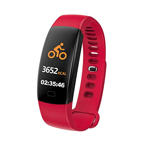 WG Sport Health Fitness Smart Watch Activity Tracker BPM Bluetooth Step Pedometer Information Reminder Wrist Sense Call Alert Sleep Monitoring Alarm Calorie Counter iOS and Android (red)