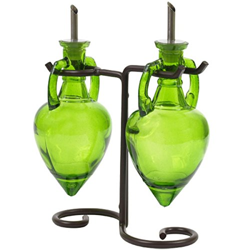 Olive Oil Glass Bottles, Dish Soap Dispenser or Glass Decanter Set G8M Lime Green Amphora Style Glass Bottle Set with Stainless Steel Pour Spouts, Corks & Powder Coated Black Metal Vintage Swirl Rack