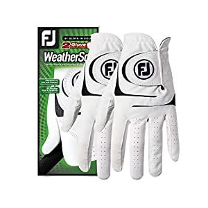 FootJoy Men's WeatherSof Golf Gloves, Pack of 2 (White), Mens, Golf Gloves, 66152E-401, White, Medium/Large