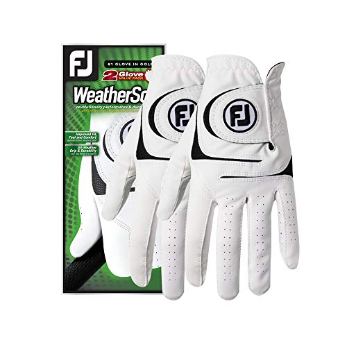 FootJoy Men's WeatherSof 2-Pack Golf Glove White Large, Worn on Left Hand