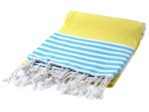 Cacala Marina Series Peshtemal Turkish Hammam Bath Towels, Traditional Peshtemal Design for Bathrooms, Beach, Sauna, Ultra-Soft, Fast-Drying 37x70 100% Natural Cotton Lemon (Monogrammed Beach Turkish Towels)