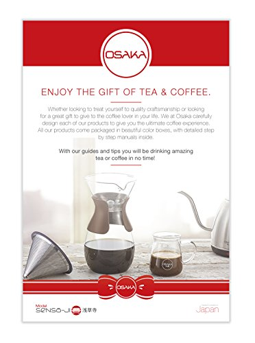 Osaka Pour Over Coffee Maker with Reusable Stainless Steel Drip Filter, 37 oz (7-Cup) Glass Carafe and Lid 'Senso-JI', Brown by Actor (Image #2)