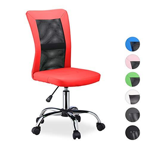 Relaxdays Silla Oficina Ergonomica Transpirable, Giratoria, hasta 90 kg, Piel Sintetica, 102 x 55 x 55 cm, Rojo