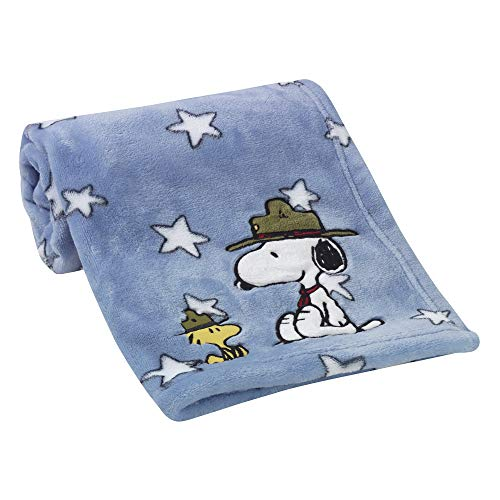 Baby Snoopy Blanket - Peanuts Snoopy's Campout Stars Blanket, Blue/White