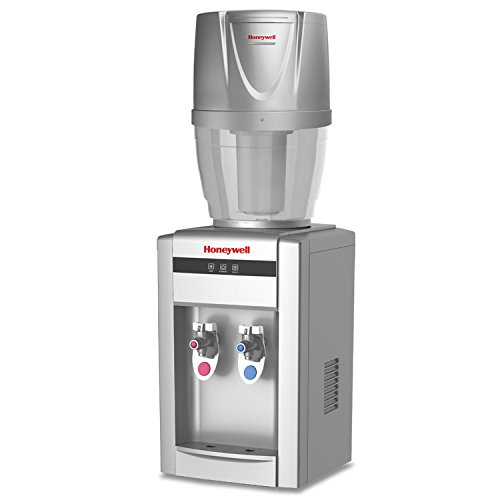 4 Gallon Countertop - Honeywell HWB2052S/HWB101S 21-Inch Tabletop Water Cooler Dispenser, Hot and Cold Temperatures with 4 Gallon Filtration System, Silver
