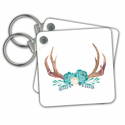 TNMGraphics Animals - Turquoise Flowers Decorating Elk Horns - Key Chains - set of 2 Key Chains - Ring Elk