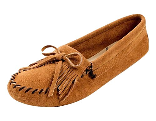 Minnetonka Women's Kilty Suede Softsole Moccasin,Taupe,7 M US