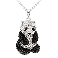 "CRYSTALOGY Women's Jewelry, Sterling Silver Swarovski Crystal Panda Bear Animal Pendant Necklace, 18"" Chain"