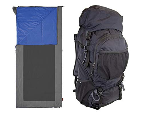 OZARK TRAIL Himont 75L Extended Multi-Day Backpack, Black Bundle with Cool Weather Sleeping Bag