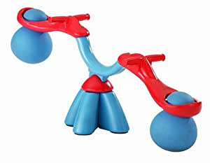 Moookie Toys TP983 - Balancín sube y baja de plástico con giro de 360º (niños de hasta 25 kg), color azul y rojo