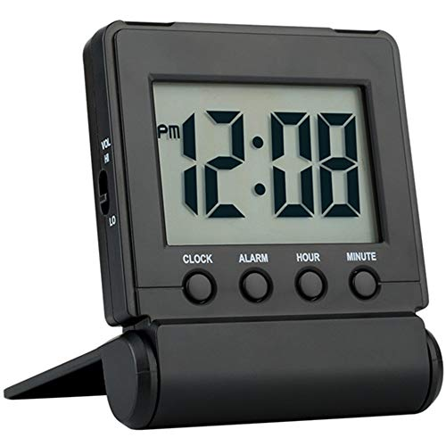 FAMICOZY Compact Digital Travel Alarm Clock with High/Low Volume Options,Simple to Set,Easy to Read,Bold Digits,Snooze Backlight,Quality Construction,2 AAA Battery Operated,Black