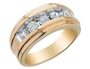 Mens Diamond Wedding Band 1.0 Carat (ctw) in 14K Yellow Gold