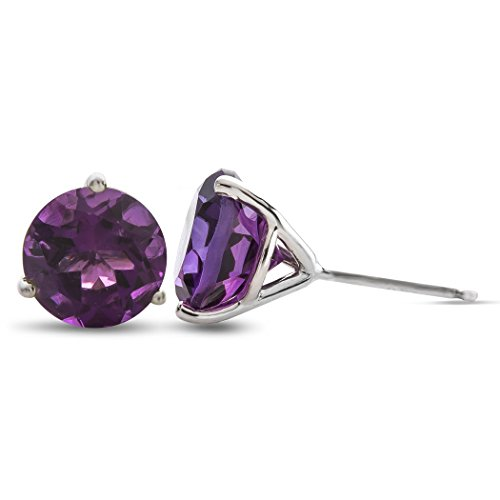 Finejewelers 10k White Gold 3-Pronged Martini 7mm Round Amethyst Stud - Prong Martini Studs 3