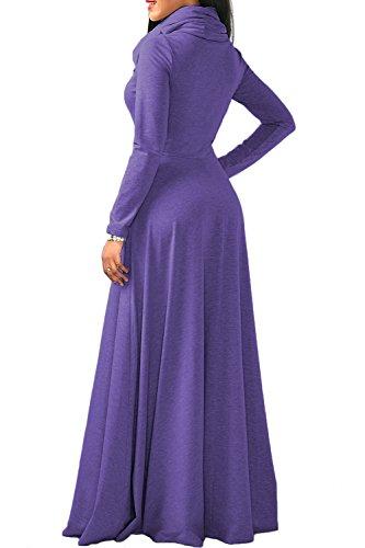YACUN Damen Lange Ärmel Cowl Hals Lange Maxi Winter Swing Kleid Purple XXL ZpCQJAq