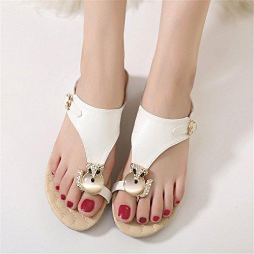 Tong Casuel Perlés Toe Fanessy Mode de en Blanc Romaine Talon Style Décontractés Plage pour Plates Bohème d'été Peep Femme Sandales Plats WAv16At