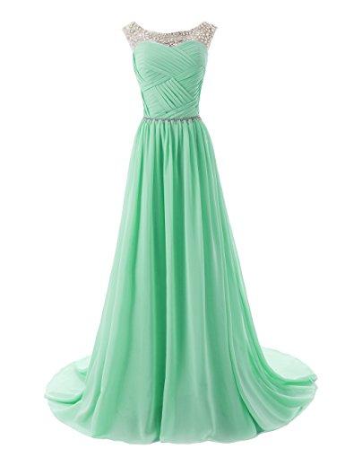 Dressystar Beaded Sleeveless Bridesmaid Dresses Prom Gown Long Size 20W Mint (Fancy Dress Size 20)