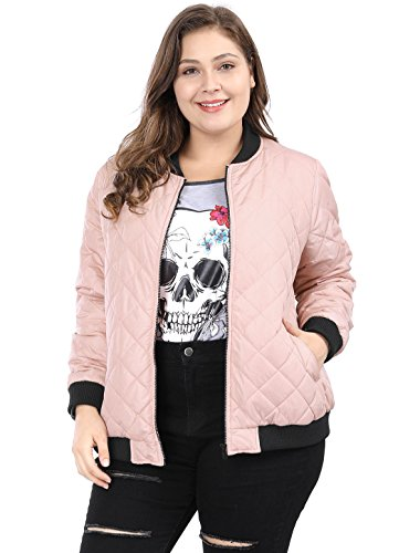 Quilted Jacket Bomber Nylon (Agnes Orinda Women's Plus Size Zip-up Contrast Color Quilted Bomber Jacket 1X Pink)