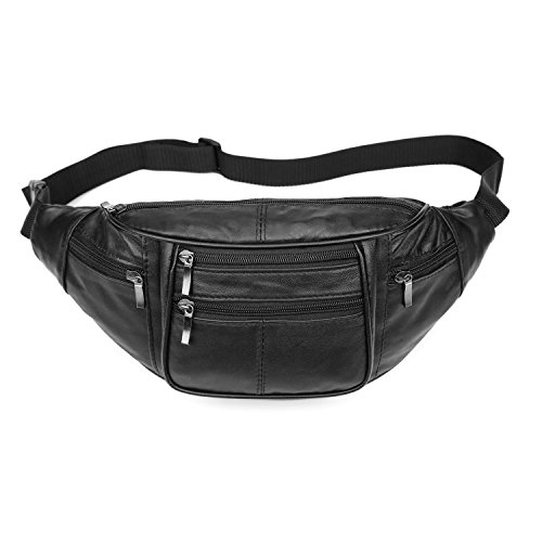 iLeather Collections Genuine Lambskin Leather Large Size 6 Pockets Waist Pack Fanny (Genuine Lambskin Leather)