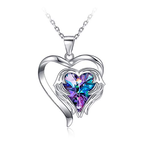 PAERAPAK Heart Jewelry Necklace for Women - Angel Wing Heart of The Ocean Pendant Necklace Engraved I Love You Mom Embellished with Crystals from Swarovski Birtherday Jewelry Gifts for Her