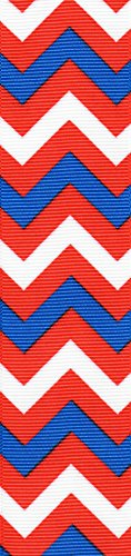 Venus Ribbon V81590 1 1/2 Inch Patriotic Chevron Printed Polyester Grosgrain Ribbon 5 yards White/Multi