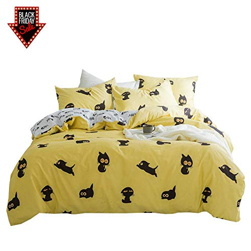 BuLuTu Cat Duvet Cover Full Kids Cotton Yellow White,3 Pieces Reversible Fish Queen Bedding Sets for Boys Girls Zipper Closure,Cute Little Black Kitten Cats Print Pattern,No Comforter