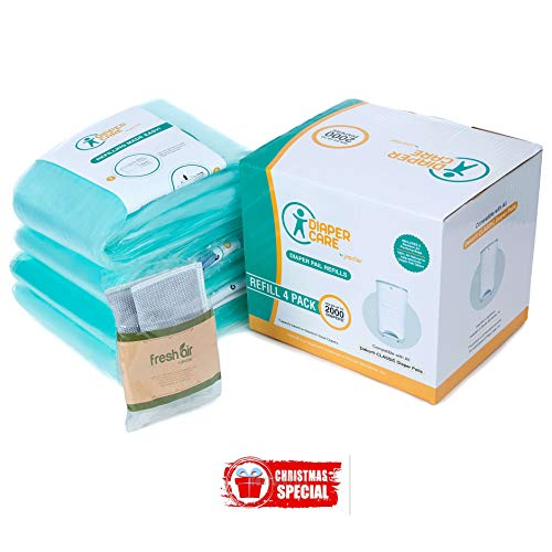 4 Pack Compatible for Dekor Classic Refill - 4 Pack - Disposable Diaper Pail Liners Hold Up to 2000 Diapers + Bonus Bamboo Charcoal Odor Smell Eliminator Bags + Free Potty Training Secrets Ebook (Dekor Pail Diaper)
