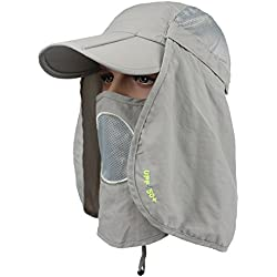 YCHY Folding Fishing Hat 360° Solar Protection UPF 50+ Unisex Flat Sun Caps Removable Neck&Face Flap Cover Hats for Hiking,Fishing,Hunting,Backpacking,Cycling, Camping,Outdoor Sports (Light Grey)