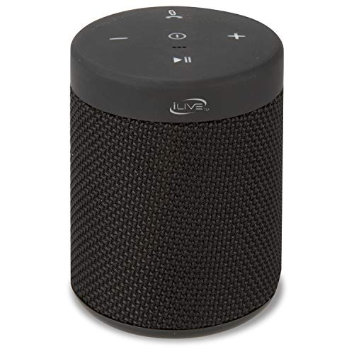 iLive Waterproof Fabric Wireless Speaker, 2.56 x 2.56 x 3.4 Inches, Built-in Rechargeable Battery, Black (ISBW108B)