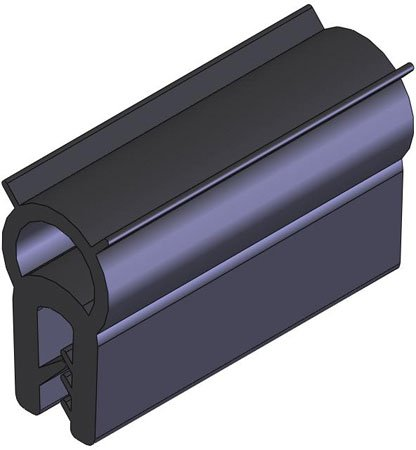 50 Ft. Lg., Side Profile - EPDM, .039 to .158 Opening, No Ribs on Bubble, Emka Door Seal Gaskets, Material U.L. Approved (1 Each)