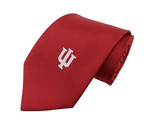 NCAA Men's Indiana Hoosiers Solid Necktie, Cream/Crimson