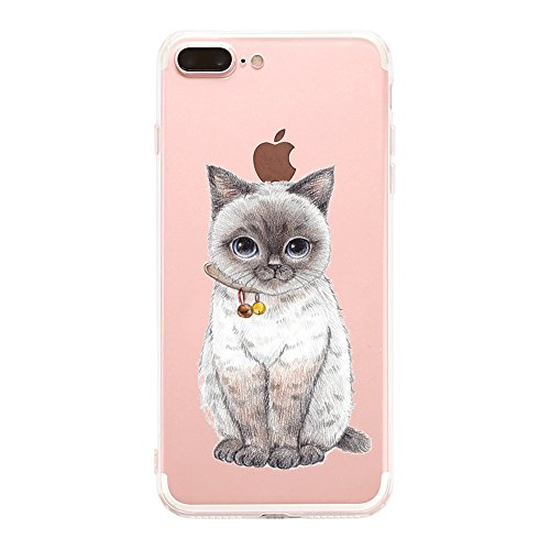 iPhone 8 Plus Case Crystal Clear Transparent Ultra Thin Slim Shockproof Protective Soft Silicone cute TPU Matop Apple iPhone 8 Plus Bumper Cover - Transparent Cat