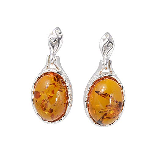 Sterling Silver Baltic Honey Oval Amber Earrings