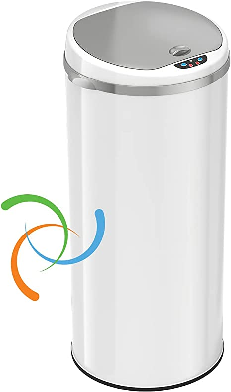 Stainless Steel iTouchless 13 Gallon Touchless Sensor Kitchen Trash Can Odor F
