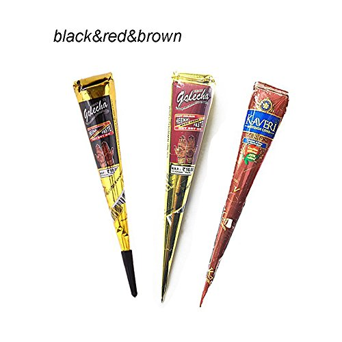 Temporary India Tattoo Paste Kit Body DIY Art Painting Henna Cone Drawing with Free Tattoo Stencil Templates Papper Set,3 pcs/lot Black Brown Red Tattoo Cream