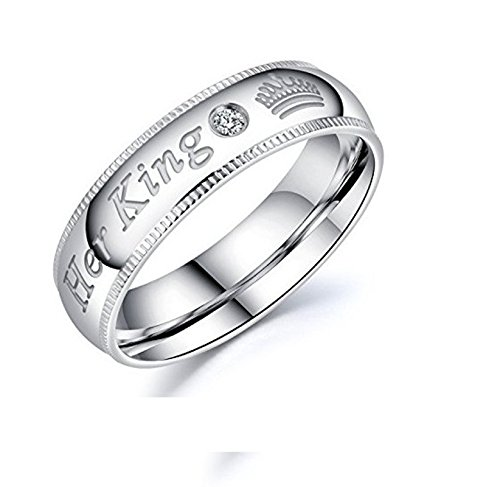 Aokarry His&Her 6MM Couple Ring, Stainless Steel Her King&His Queen Wedding Promise Ring Men Size 11