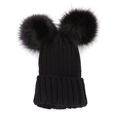 4Clovers Hairball Hat Clearance Sale, Winter Women's Mickey Mouse Beanie Hat Crochet Wool Hat Stripe Warm Knit Block Ski Cap Pom Pom