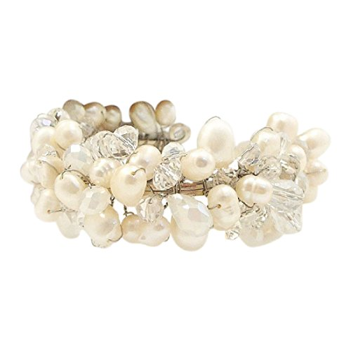 AeraVida Clear Fashion Crystal & Cultured Freshwater White Pearl Cluster Beam Adjustable Cuff Bracelet