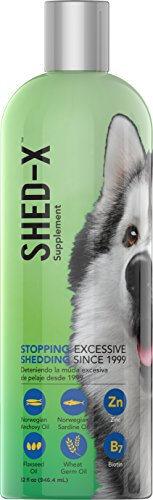 SynergyLabs Shed-X Dermaplex Liquid Daily Supplement for Dogs - 100% Natural - Eliminate Excessive Shedding with Daily Supplement of Essential Fatty Acids, Vitamins and Minerals (32 oz. Bottle)
