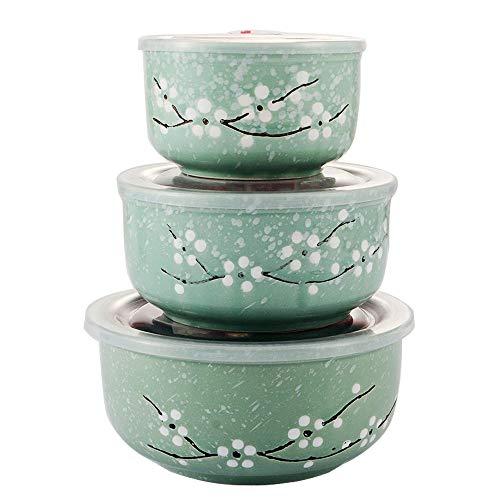 Japanese Style Green Ceramics Bowls Set with Lids - Japanese Ceramic Food Storage Container Set/Microwave Nesting Mixing Bowls Set Serving Soup Salad Snack Noodle(3 Piece Set)